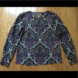 J. Crew Blouse Women's Small Purple Green Cream